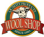 wool shop logo with lamb head. Quality products since 1983