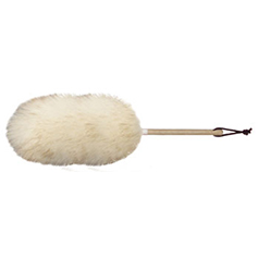 10 inch wool duster with wood handle and leather hang loop