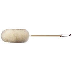 18 inch wool duster with wood handle and leather hang loop