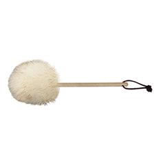 8 inch wool duster with wood handle and leather hang loop.