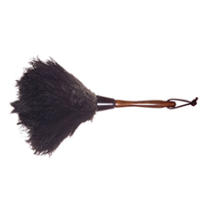 duster made from ostrich feathers with a dark wood handle and a leather hang tie, 13 inches long