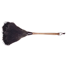 duster made from ostrich feathers with a dark wood handle and a leather hang tie, 20 inches long
