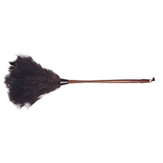 duster made from ostrich feathers with a dark wood handle and a leather hang tie, 28 inches long