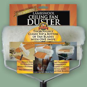 Wool Shop's ceiling fan duster in packaging on green background