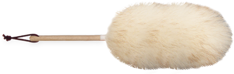 ten inch wool duster with wood handle and leather hang loop transparent background