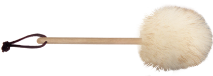 8 inch wool duster with wood handle and leather hang loop transparent background
