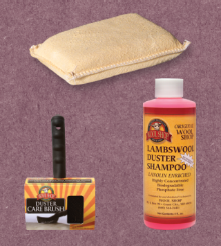 collage of wool duster care products: brush, shampoo and chamois sponge on purple background