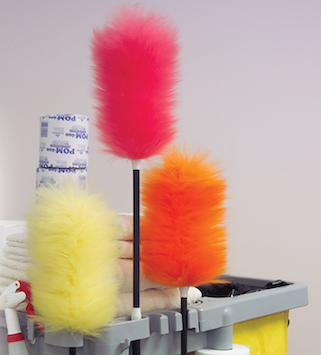 yellow, pink and orange commercial dusters on a cleaning cart